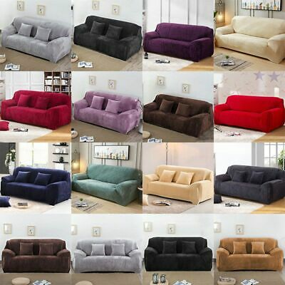 1/2/3 Seater Elastic Sofa Covers Slipcover Settee Stretch Velvet Couch Protector
