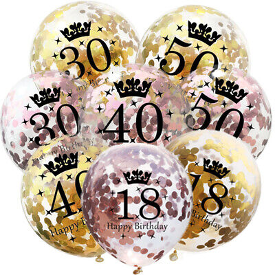 Rose Gold 18/21st/30/40/50/60th Happy Birthday Confetti Balloons Number Party