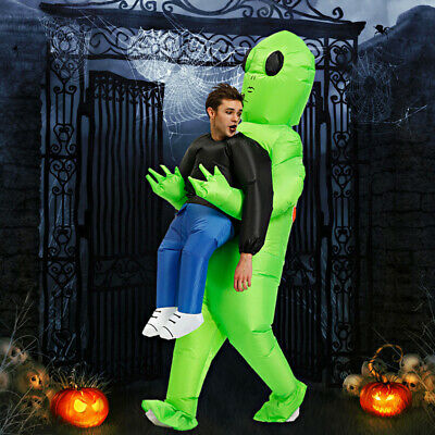 Green Alien Carrying Human Costume Christmas funny performance props clothes