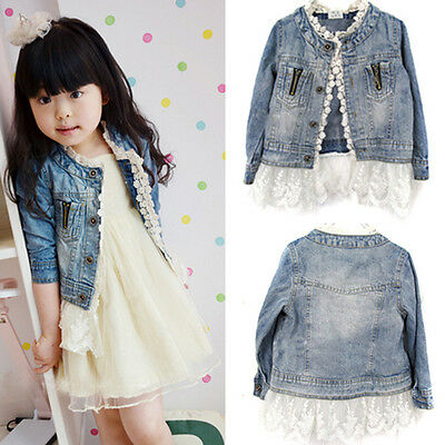 2-7T Girls Kids Jean Coat Jacket Outwear Denim Top Button Lace Button Outfits o