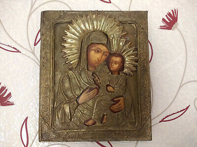 Antique Russian Wood Orthodox Christian Religious St Mary Icon