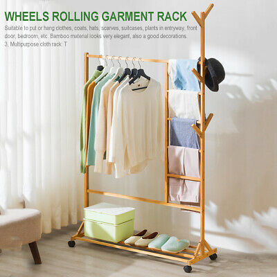 Hanger Rack Storage Stand Clothes Shoe Garment Coat Bag Hat Wooden Bamboo Holder
