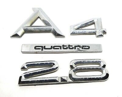 96-01 Audi A4 Rear Trunk Deck Lid Emblem Badge 2.8 Quattro Symbol Chrome Sign