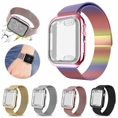 For Apple Watch Series 4 3 2 1 Stainless Steel Band Strap+Full Body Case Cover