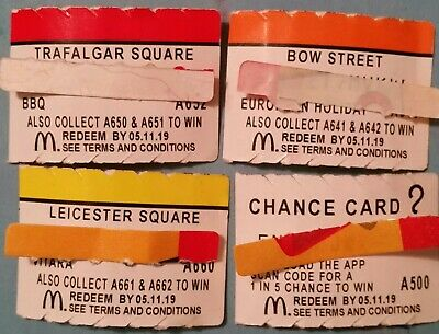 McDonald's monopoly 2019 X 4 TRAFALGAR SQUARE, BOW St, LEICESTER ST, CHANCE CARD