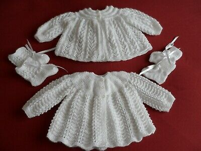 Two Hand Knitted Baby Matinee Coats  & Two Pairs Of Bootees  ( A 4 ).