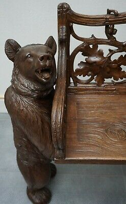 Black Forest Double Bear Wooden Bench 1880