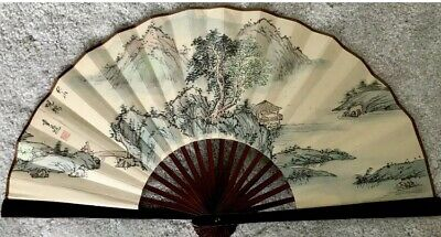 "Vintage/Antique Signed Chinese Watercolor Fan Painting On Silk 14"" X 25.5"""