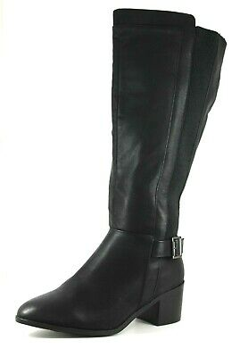 Evans Lacey Womens UK 10 EEE Extra Wide Fit Black Block Heeled Knee High Boots