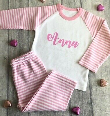 PERSONALISED GIRLS PINK PYJAMAS, Striped PJs Gift Glitter Name Keepsake Present