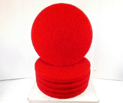"11"" Red Polyester Fiber Round Buffing and Cleaning Pad for Floor Machines 5-Pack"