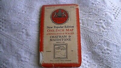 NATIONAL GRID ORDNANCE SURVEY MAP, CHATHAM+MAIDSTONE ( CLOTH ) No 172,  1940 ?