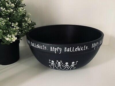Rae Dunn New Dancing Skeletons Black CERAMIC HAPPY HALLOWEEN Bowl And 2 Ovals 🖤