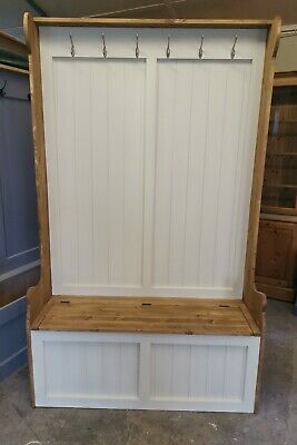New Handmade Solid Pine 4Ft Monks Bench Hall Stand Wth Coat Hooks