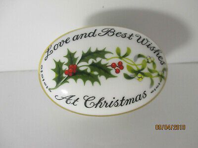 Coalport Bone China Staffordshire England Christmas Trinket Box & Lid Gold Trim