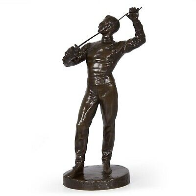 BRONZE FIGURE SCULPTURE | French Antique Statue of Fencer by Benoît Rougelet