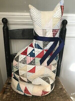 Early Inspired Folky Handmade Sweet Quilt Cat Pillow Blues