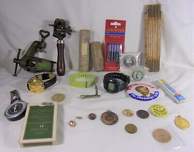 Vintage Mens Junk Drawer Lot Indian Pipestone Watches tools Medals Political pin