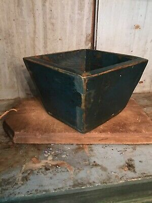 Early Old Small Primitive Blue Painted Wood Apple Box