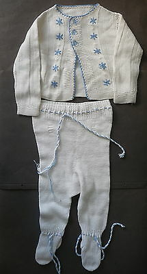 Baby Clothing Singlet and Tights Knitted White-Blue