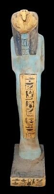 Very huge rare Ancient Egyptian Horus wooden statue antique Colorful hieroglyph