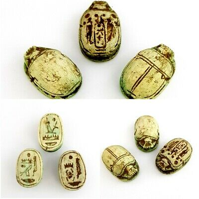 Rare collection Ancient Egyptian Scarabs amulet charm hieroglyphic stone antiqe