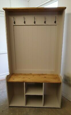 Handmade solid Pine 3ft Hall Stand Shoe Storage Coat Hooks Farrow and Ball