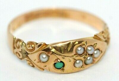 Victorian 1896 seed pearl & turquoise bunch grapes 15 ct light rose gold ring R