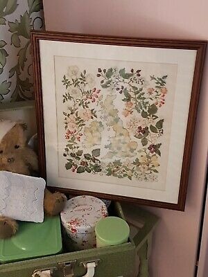 Hand Crafted Cross Stitch Great Britain With Flowers/Berries