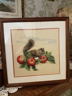 Hand Crafted Squirrel Picture Petite Point Cross Stitch