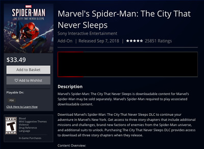 PS4 USA DLC City That Never Sleeps ADD-ON SPIDERMAN DOWNLOAD-CARD -Not Full Game