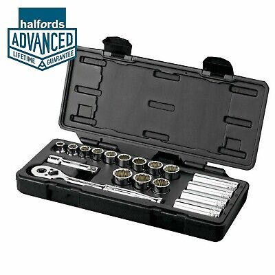 "Halfords Advanced Professional Socket Set Kit 3/8"" 18 Piece Standard Deep Tools"