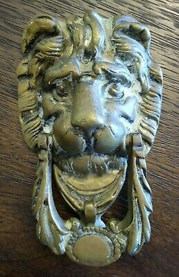 "Vintage Estate LION head heavy Brass DOOR KNOCKER - Large 7 1/2"" back mount"
