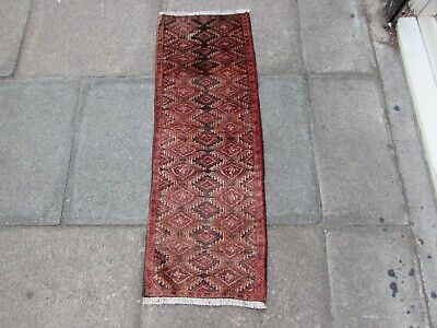 Vintage Traditional Hand Made Rug Oriental Wool Red Small Short Runner 113x40cm