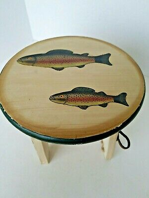 Wood Stool or Small Table Fishing  Design Primitive Country