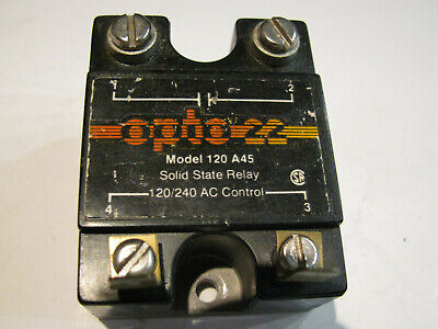 Opto22 Opto 22 Panel Mount Solid State Relay.  Model 120 A45 AC Control. NO, NC