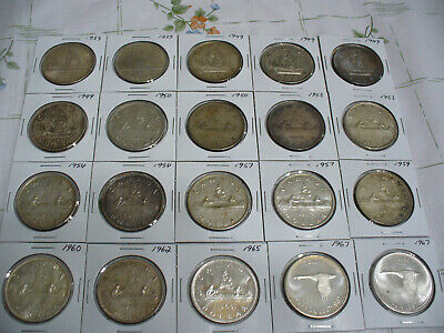 Lot Of  20 1939-1967  Canada  Silver  1$ One Dollar  Coins  Silver  Good Grades