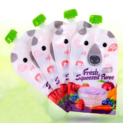 Reusable Refillable Squeeze Food Pouch Storage Bag Baby Food Non-spilled Bags