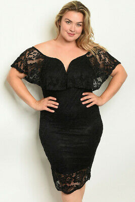 Womens Plus Size Black Lace Overlay Cocktail Dress 1X Cold Shoulder Bodycon