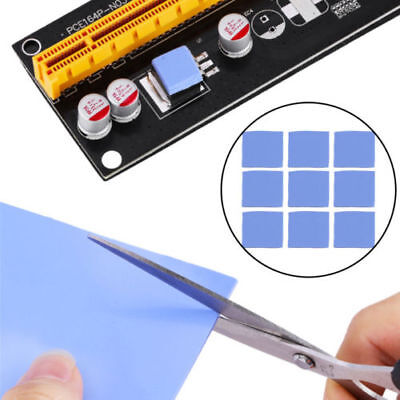 Blue 100x100mm x 1mm GPU CPU Heatsink Cooling Thermal Conductive Silicone Pad B7