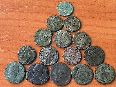 Lot of 15 Ancient Roman Imperial Bronze Coins Constantine the Great Dynasty