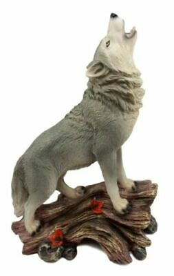 """Large Howling Gray Wolf Figurine 12.5""""H Timber Wolf Sculpture Resin Decor"""