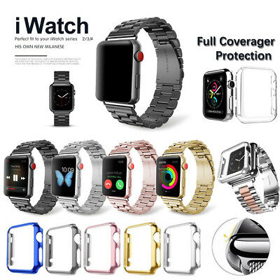 Stainless Steel Band Strap + Case Cover For Apple Watch Series 4 3 2 42mm 44mm