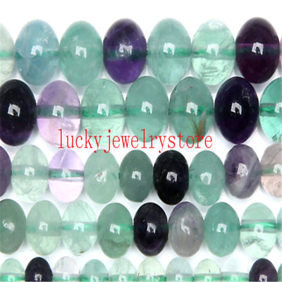 "Natural Stone Rainbow Fluorite Round Loose Beads 15"" WW17"