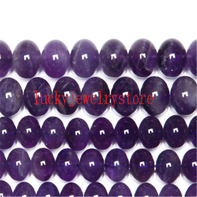 """AAAA Quality Natural Stone Purple Amethysts Crystals Round Loose Beads 15"""" WW18"""