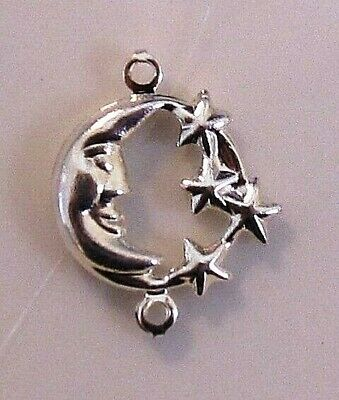 Link, silver-plated brass, 11mm moon face with stars x .3