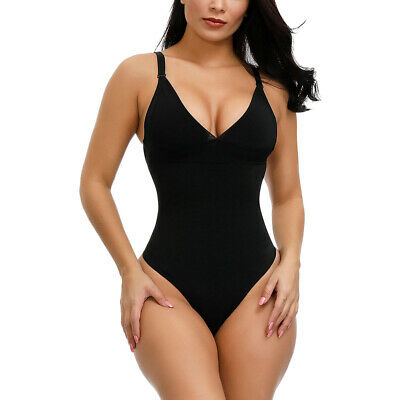 Women Adjustable Full Body Shaper V-Neck Bodysuit Thong Tummy Control Shapewear