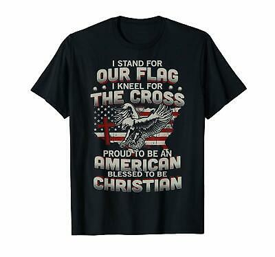 I Stand For Our Flag I Kneel For The Cross American T-shirts Tee US trend 2019