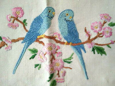 Blue Budgies/Budgerigars & Cherry Blossoms  ~ Hand Embroidered Tea Cosy/Cover