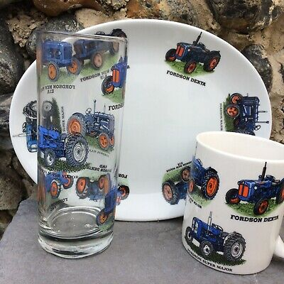 Fordson 3 Piece Snack Set With  6 Different Tractors On